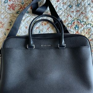MK Cooper Pebbled Leather Double-Zipper Briefcase